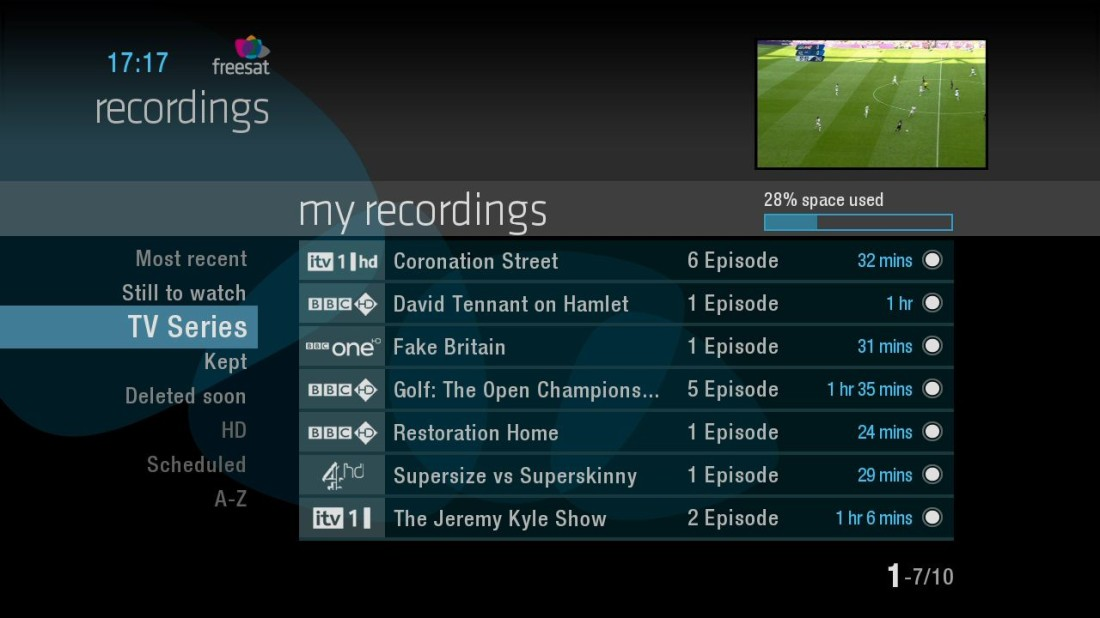 Recordings display